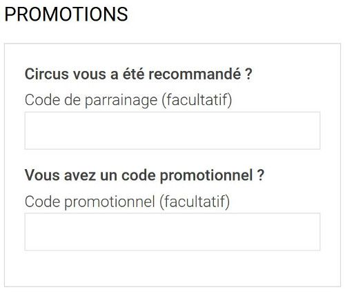 circus code promotionnel